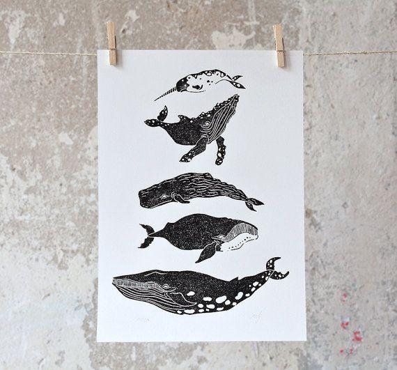 Blauwal, Grönlandwal, Pottwal, Buckelwal und Narwal – die Riesen der tiefen Meere als Druck für dein Zuhause. Zu finden auf Etsy.