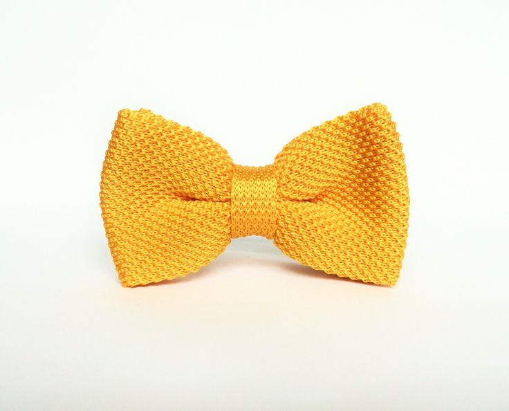 Men's yellow knitted bow tie Pre-tied bow tie gift for men wedding yellow bow tie groomsmen by TheStyleHubTrends on Etsy