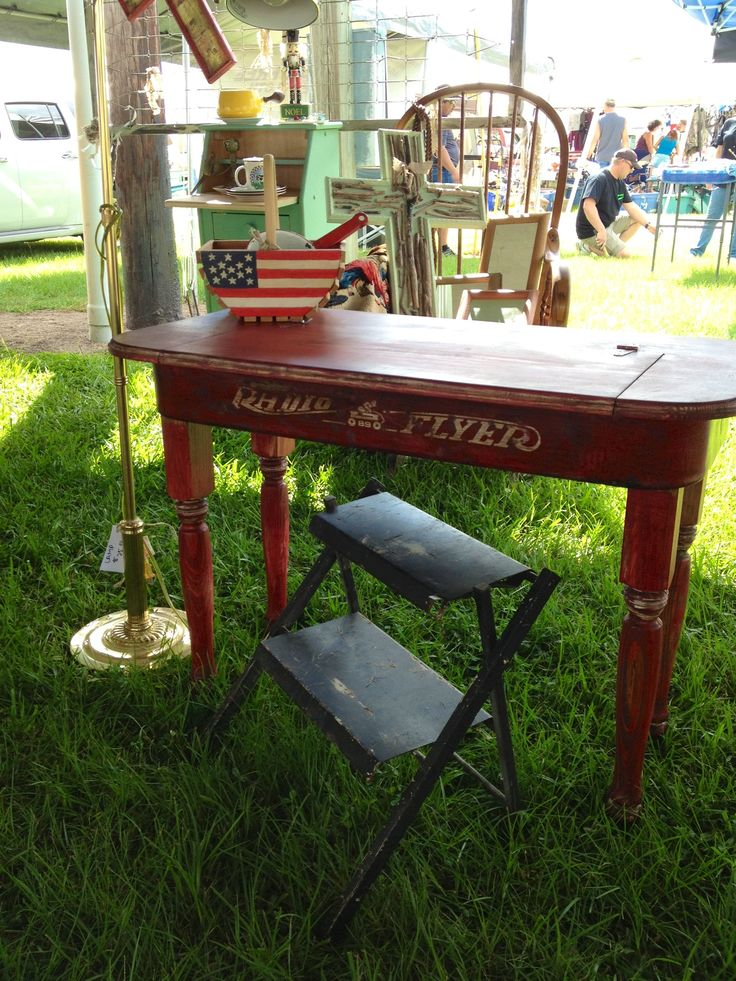 Vintage radio flyer desk designed by Elisabeth Beausoleil.  Radio Flyer wagon repurposed