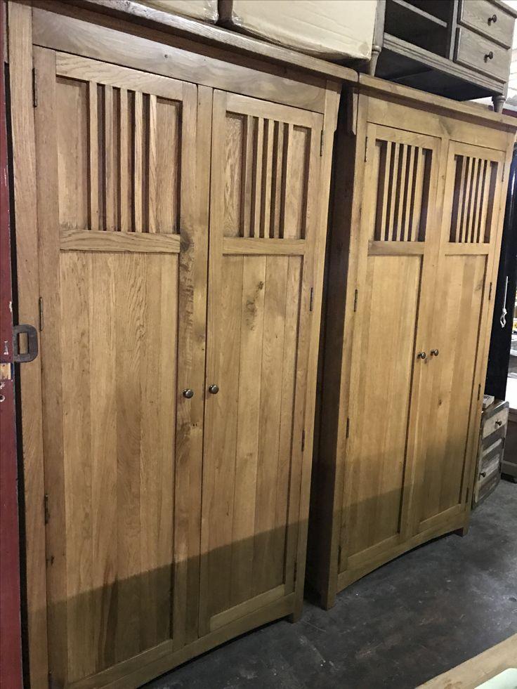 Stunning pair of solid oak wardrobes
