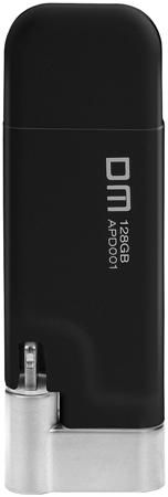DM AIPLAY 128GB (черный)  — 7490 руб. —  USB-флешка DM AIPLAY снабжена дополнительным штекером Lightning. Благодаря этому она может использоваться для переноса информации между компьютером и мобильными девайсами от Apple. Универсальное применение. Компактные размеры и небольшая толщина штекера делают устройство совместимым с большинством защитных чехлов для iPhone и iPad.Максимальная надежность. В изготовлении флешки используются наиболее качественные материалы – нержавеющая сталь и мягкий…