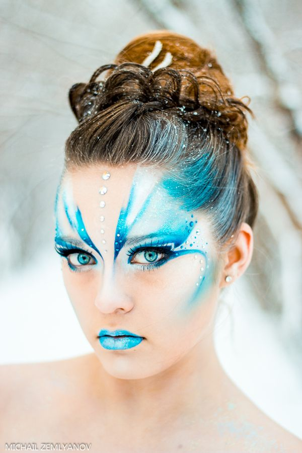 Snow Queen inspired aqua and white  fantasy make-up with pretty crystal accents by Michel Z_Art.