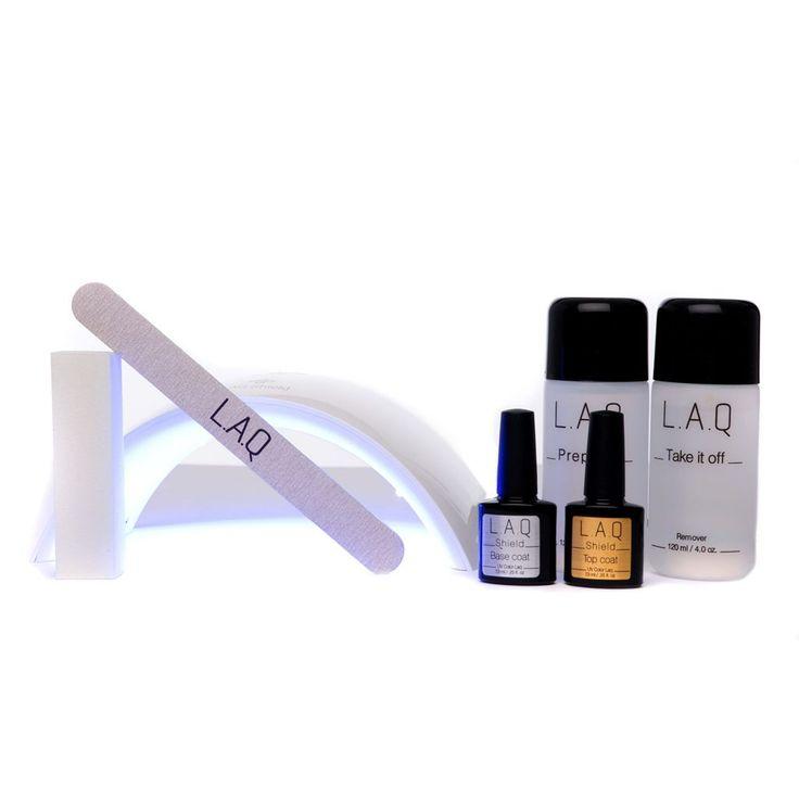 Startsættet indeholder:  Led lampe 12 watt, LAQ Base & Top Coat, LAQ Prepare & LAQ Take it off, neglefil og neglebuffer.  Her har du alt hvad du skal bruge for at komme igang med at lave smukke negle, eneste du skal tilkøbe er den farve du drømmer om.