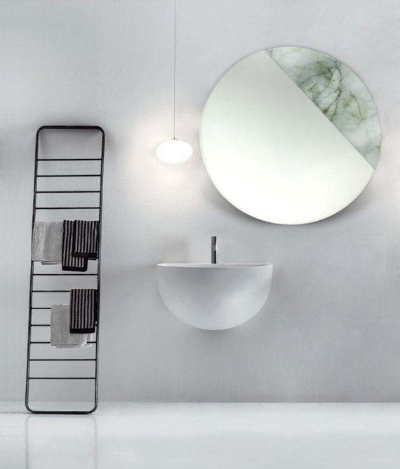 Circle MIRROR With Digital GREY MARBLE By ArmandobrunoONETOONE