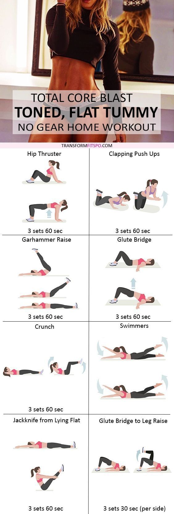 Repin and share if this home workout got you in crazy shape! Read the post for all the workout descriptions! by tracy sam
