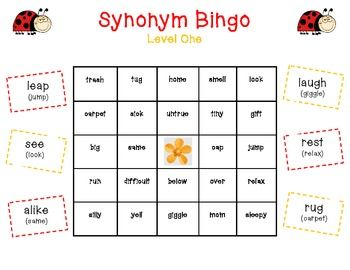 Yay! Lets play Bingo!  Synonym Bingo makes teaching/reviewing beginning synonyms FUN for students! Whats unique about this Bingo set, is that the teacher calls out a word and students have to find the matching synonym on their Bingo board.so its not a traditional say and cover Bingo.