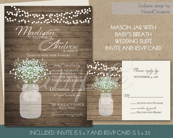 Rustic Wedding Invitation Printable Mason Jar And Baby S Breath Invites String Lights Barn Wood