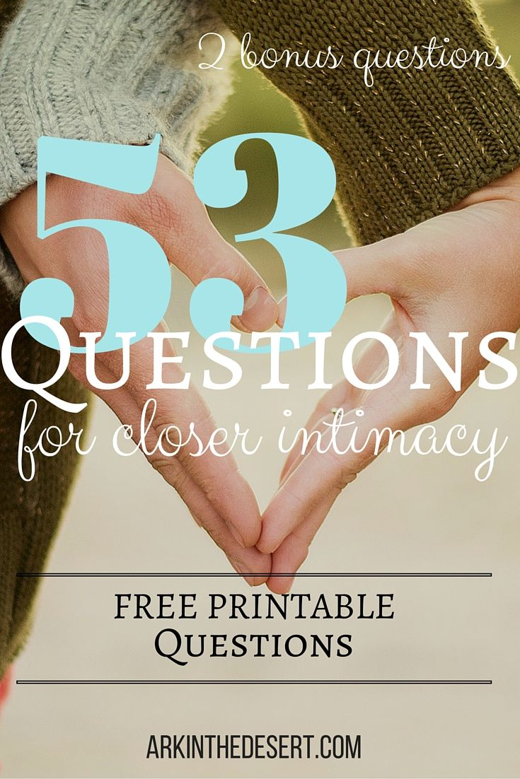 53 Questions to ask your spouse to help grow intimacy in your marriage. AND a free printable! Who doesn't love free printables?