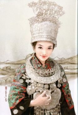 Hand painted illustrations of 56 ethnic groups from China.    The artist Chen Shu Fen (陈淑芬) is best known for her paintings of beautiful women and handsome men. She has worked on a project in which she painted 56 Chinese ethnic groups from China. Each staying true to there original ethnic clothing.