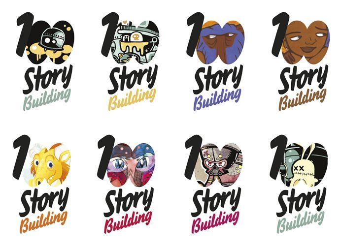 100 Story Building brand identities