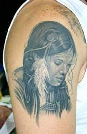 native american tattoos and meanings woman | Indian Woman Portrait Tattoo