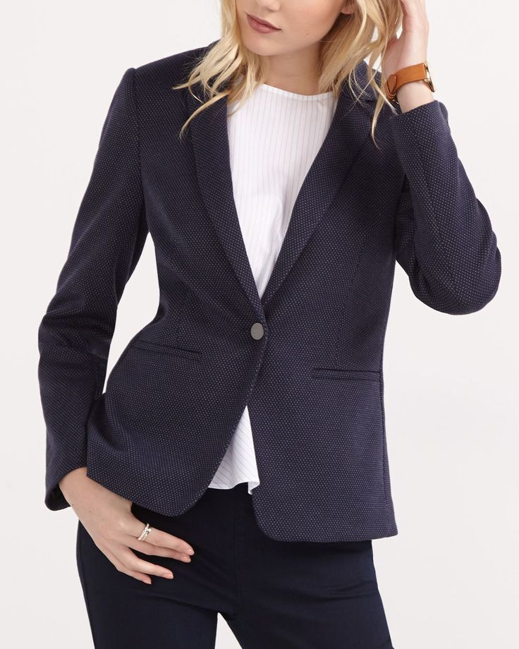 "Update your wardrobe with this Patterned Long Sleeve Blazer. It has a classic notched collar, one-button closure, front pockets and a flattering fit that highlights the silhouette. Pair it with casual pants and a denim shirt for a weekend look.<br /><br />Length: 26""<br /><br />Ready to wear for: the office, a lunch date or a 5 à 7"