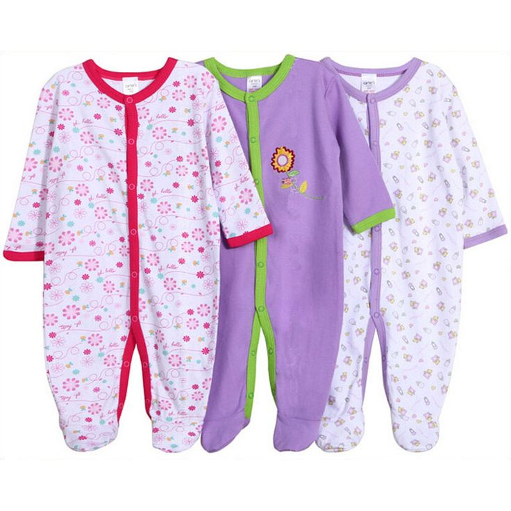 Oneasy Baby Romper 100% Cotton Infant Newborn 12M Baby Girl Jumpsuits 3pc/lot Long Sleeve Baby Boy Clothing Baby Clothes Set