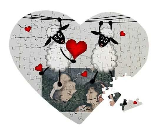 Puzzle cuore A3 con piccole pecorelle