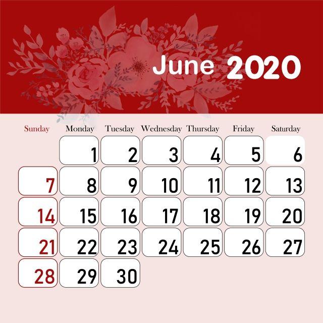 تقويم الشهر 2020 يونيو Calendar 2020 Calendar Kids Calendar