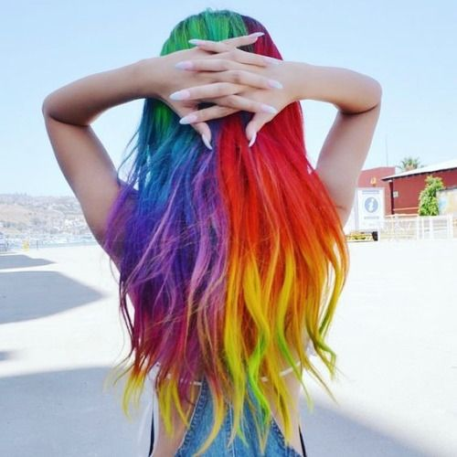 Long Rainbow hair by Guy Tang