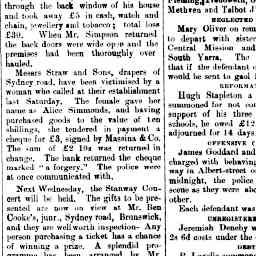 Advertisement for Stanway benefit concert. The Coburg Leader, 26 Oct 1895, p. 1, 'News and notes'.