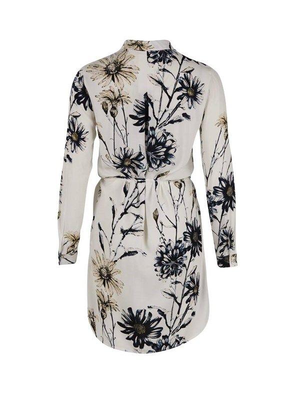 skjortekjole med blomsterprint - creme