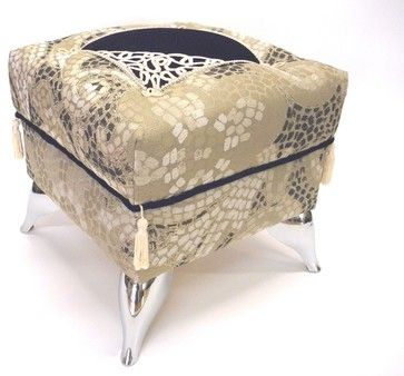 Exquisite Foot Stool / Ottoman with Roman mosaic patterns of grey black and beig eclectic ottomans and cubes