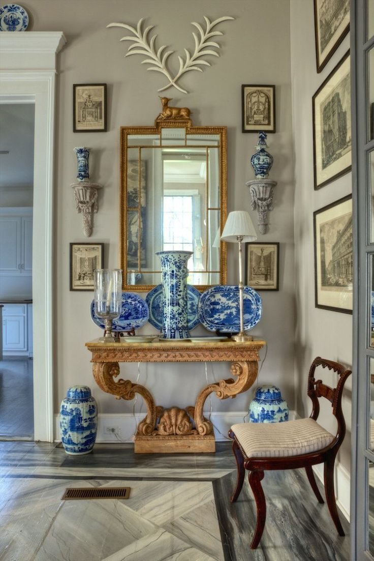 Interior by Furlow Gatewood - one of his homes. Gorgeous porcelains and faux marble painted floor add lushness to the space.