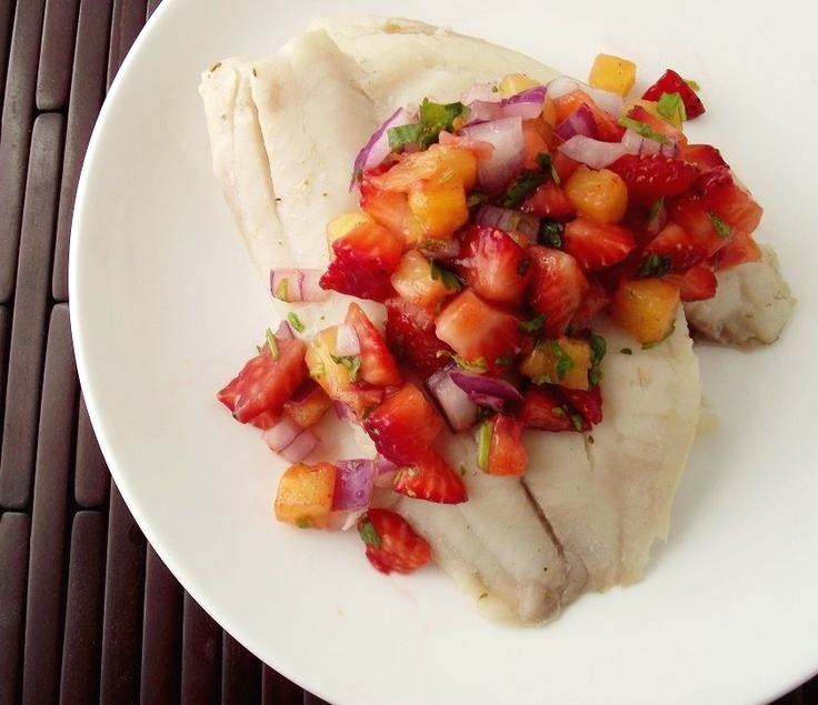 easy tilapia with strawberry/pineapple salsa