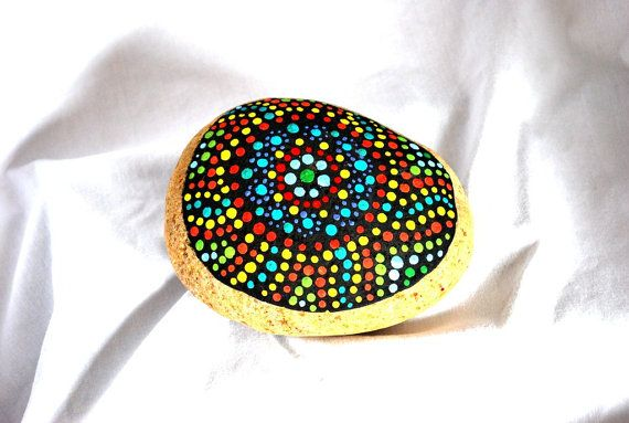 Painted rock garden stone by BeautyandStones on Etsy, $28.00