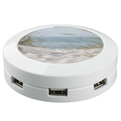Tropical Beach Sand and Ocean View USB Charging Station - #customizable create your own personalize diy