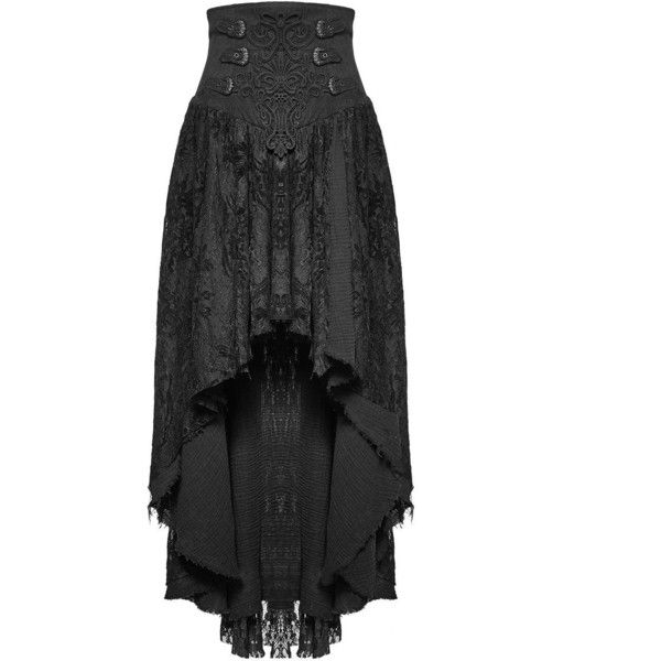 Punk Rave Gothic Skirt Long Black Lace Steampunk VTG Victorian Corset... ❤ liked on Polyvore featuring costumes, punk halloween costumes, witch costume, steampunk halloween costume, victorian halloween costumes and steam punk costume