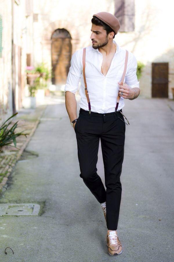 Chaussures juste dégueulasses c'est pourquoi j'en donnerai d'autres en vrai elles ne rendent franchement pas bien, voilà pourquoi des asics gel lite III feraient bien l'affaire du style http://www.asicschaussuresprix.com/images/large/ussurespri/Asics-Gel-Lyte-III-Brown-Black-White960050-50_04_LRG.jpg , chemise blanche classique allez voir sur asos, jean chino skinny noir homme, le béret ressemblant plus à une Kipa marron allez sur http://www.headict.com/