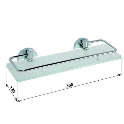 Omega - polička skleněná s výklopnou hrazdou 300 mm, 104102202  sanita.cz 849 kč