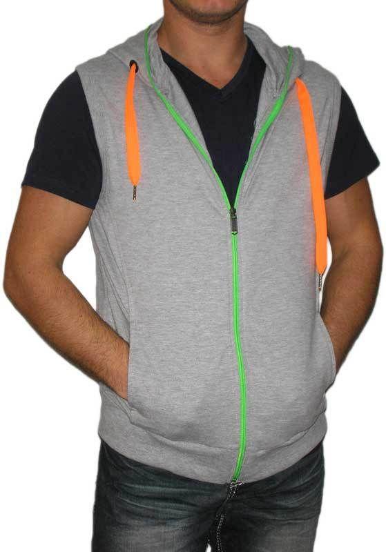 Ανδρικό φούτερ γιλέκο γκρι μελανζέ με κουκούλα μόνο 30.00€ #moda #style #fashion