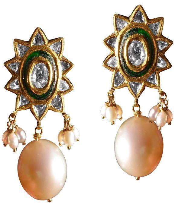 Polki drops with pearl