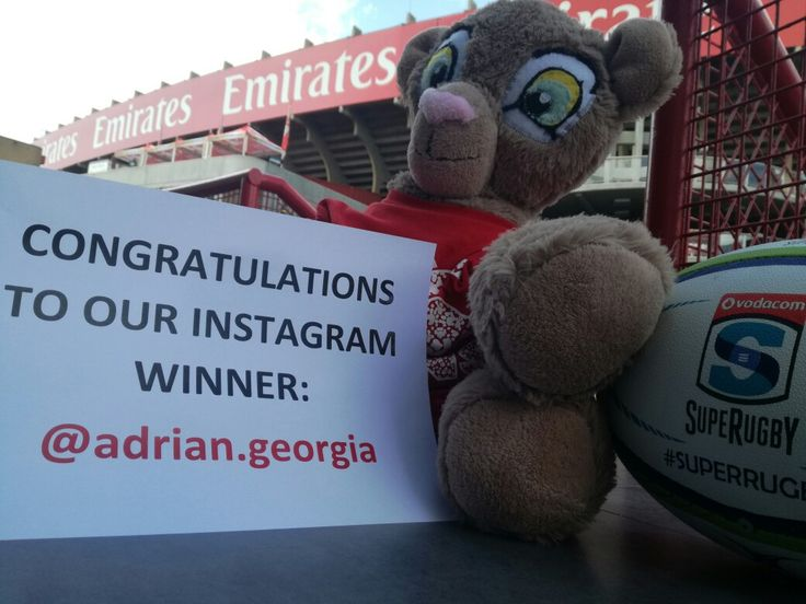 Congratulations to @adrian.georgia who won two tickets to Saturday's game at Emirates Airline Park!  #LeyaTheLion #Liontaiment #Lions4Life #SuperRugby #EmiratesLions #BeThere #MyLionsMoment #LionsPride #LIOvSHA