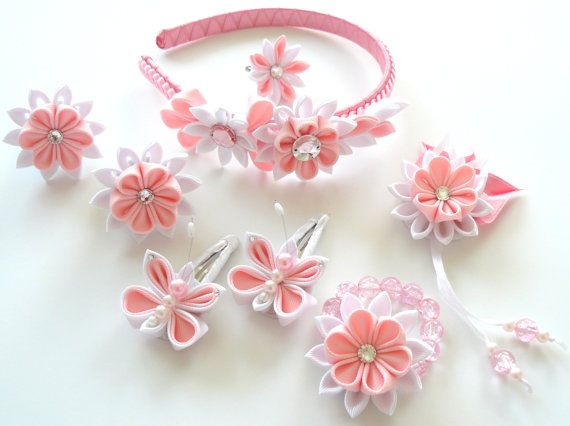 Set of 8 pieces - headband, 2 hair snap clips, 2 ponytails, bracelet, ring, brooch. A flowers are made in the technique of tsumami kanzashi. Plastic