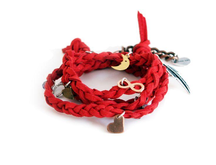 Red wraparound bracelet in deerskin leather with charms  #handmade #jewelry #wraparound #wrap #bracelet #leather #silver #shoponline #jewelryring #Holidays