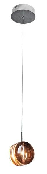 Pendente de metal cromado e vidro decorativo âmbar,  Medidas: 10x10cm,  Material: Metal e vidro,  Cor: Cromado e âmbar