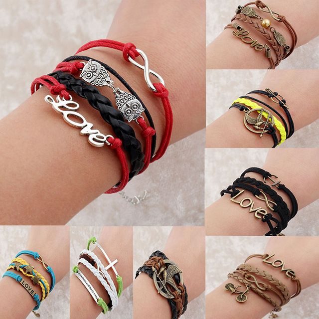 Винтажный бесконечность якорь крюк искусственная кожа браслет, Мужчины женщины браслеты и браслеты ювелирные изделия B2088