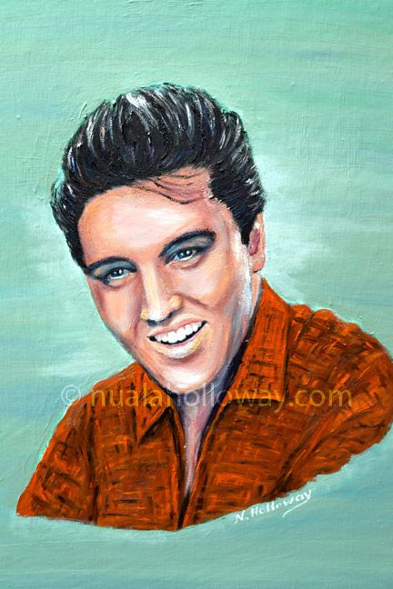 """""""Elvis 1958"""" by Nuala Holloway - Oil on Canvas  (Commission for the book cover of """"Elvis and Ireland"""" by Ivor Casey / Published by Appello Press, 2013) #Elvis #ElvisandIreland #OilPainting #Portrait"""