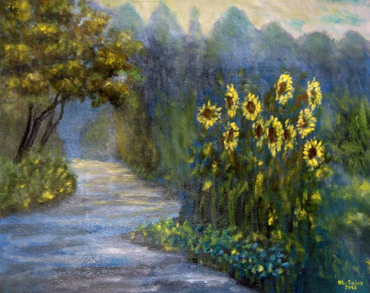 slečnicová alej olejomalba - sunflowers alley oil painting