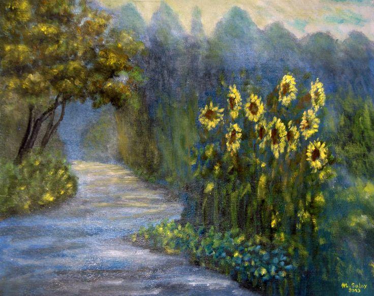 slečnicová alej olejomalba - sunflowers alley oil painting