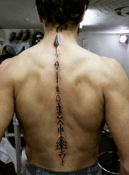 Guys Arrow Full Spine Tattoos