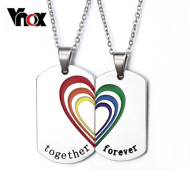 Vnox 2 teile/para paar halskette anhänger edelstahl regenbogenherz hochzeit schmuck freies 2 ketten