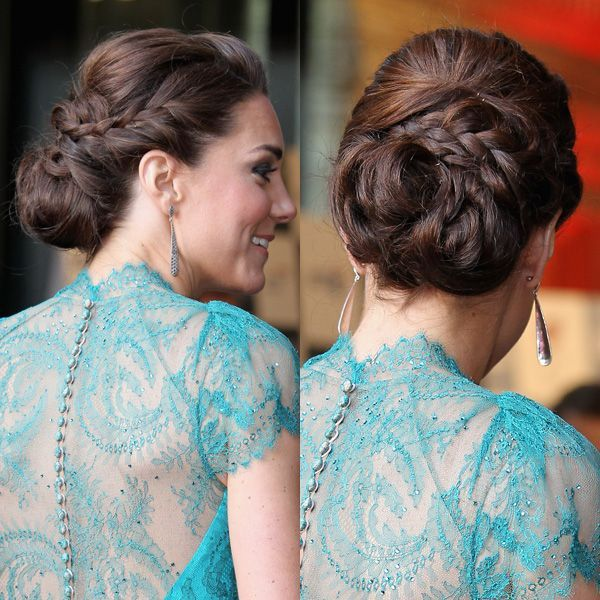 Kate Middleton's sophisticated braided chignon updo. (Side note: Could she be any more perfect?)