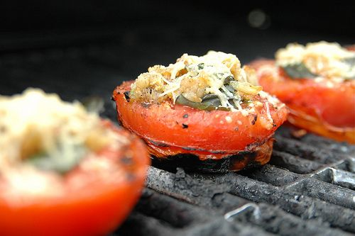 grilled tomatoes, basil, garlic & parm.