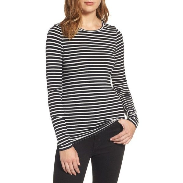 Petite Women's Halogen Long Sleeve Modal Blend Tee ($39) ❤ liked on Polyvore featuring tops, t-shirts, petite, longsleeve tee, petite tops, slim fit long sleeve t shirts, slim fit t shirts and longsleeve t shirts