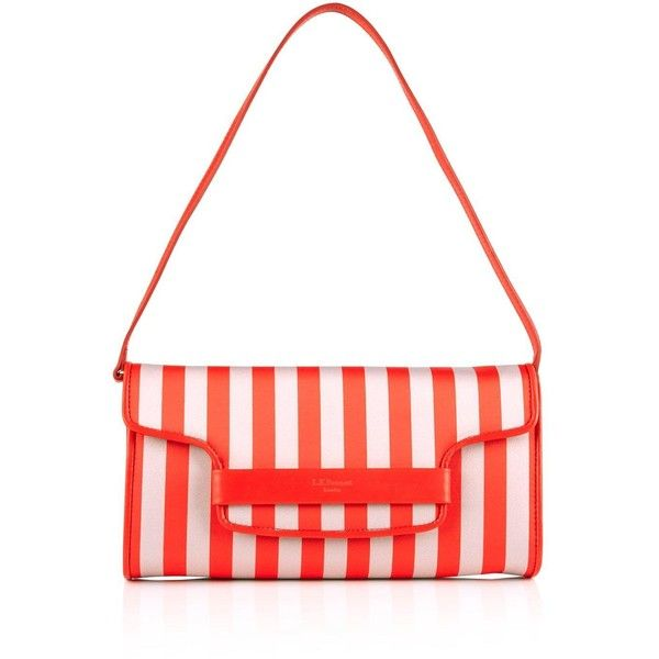 L.K. Bennett Laura Striped Clutch Bag (1.304.260 IDR) ❤ liked on Polyvore featuring bags, handbags, clutches, red, stripe handbag, red purse, red clutches, striped handbag and white clutches