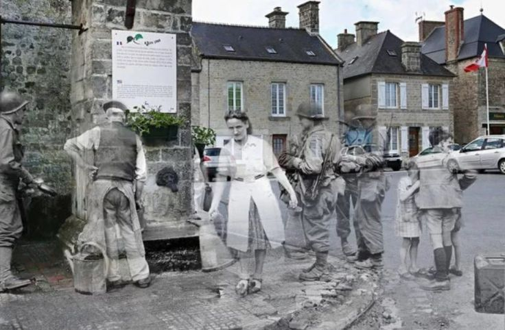 Ghosts of Time: 39 Beautiful Then & Now Pictures of WWII – Including US troops at the water pump in St Marie du Mont 1944 – 2015