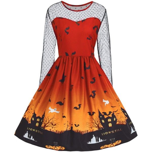Plus Size Halloween Pumpkin Castle Print Vintage Dress ($19) ❤ liked on Polyvore featuring dresses, plus size womens costumes, pumpkin halloween costume, pumpkin costumes, orange costume and red costume