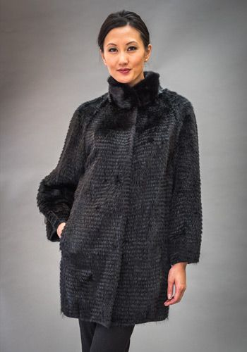 Black Dyed Mink 3/4 Coat Layered on Black Wool Knit with Black Dyed Mink Collar Length: 32″  Please contact us for current pricing and size availability.
