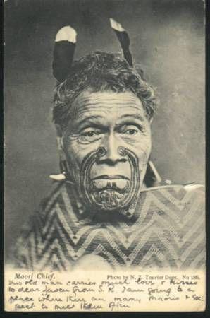 - Maori Chief 1906 Denton card to england Card
